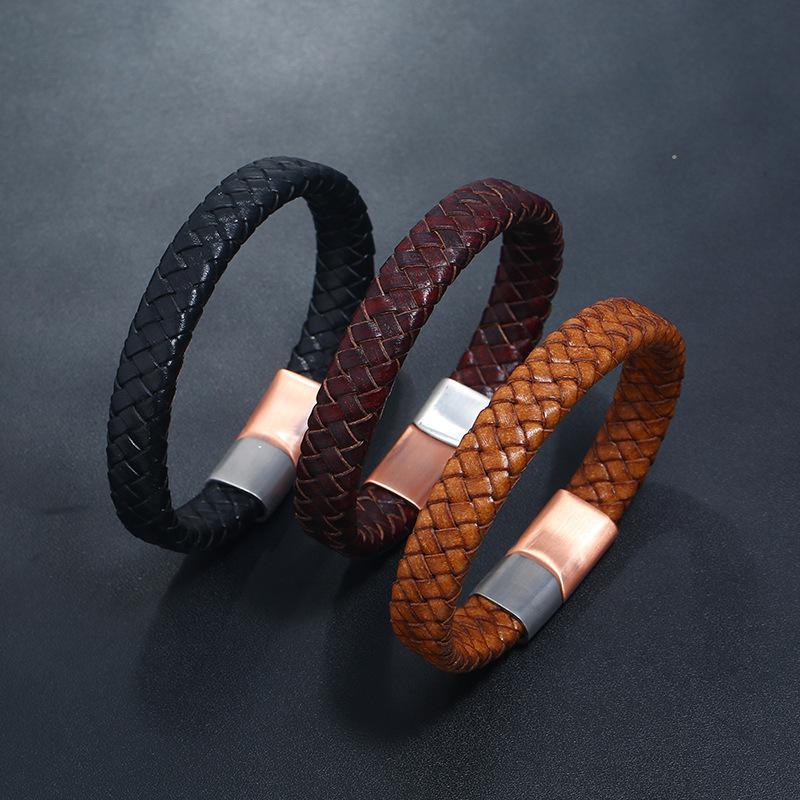 Punk Men Bracciali intrecciata in pelle braccialetto in pelle di fascino in acciaio inox catena magnetica moda maschile braccialetti braccialetti braccialetti freeshipping