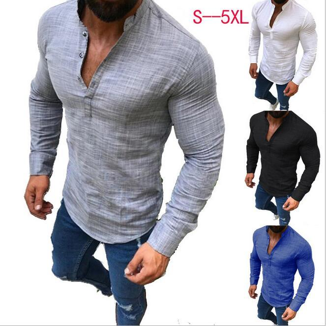 Europa y los Estados Unidos otoño moda ropa de hombre color liso manga larga casual lino medio abierto camisa de hombre casual top