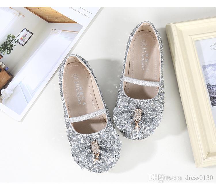 5b0af91e83a Silver Shiny Cinderella Sequins Shoes Designer Fashion Luxury Brand Girl  Shoes Designer Shoes Full Sequins Kid ...