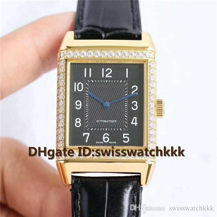 Nouvelles montres de designer Q2788520 Swiss Automatic 21600 alternances par heure Saphir Cristal Lunette Sertie De Diamants Boîtier En Or 18K Bracelet en veau noir Montre Homme