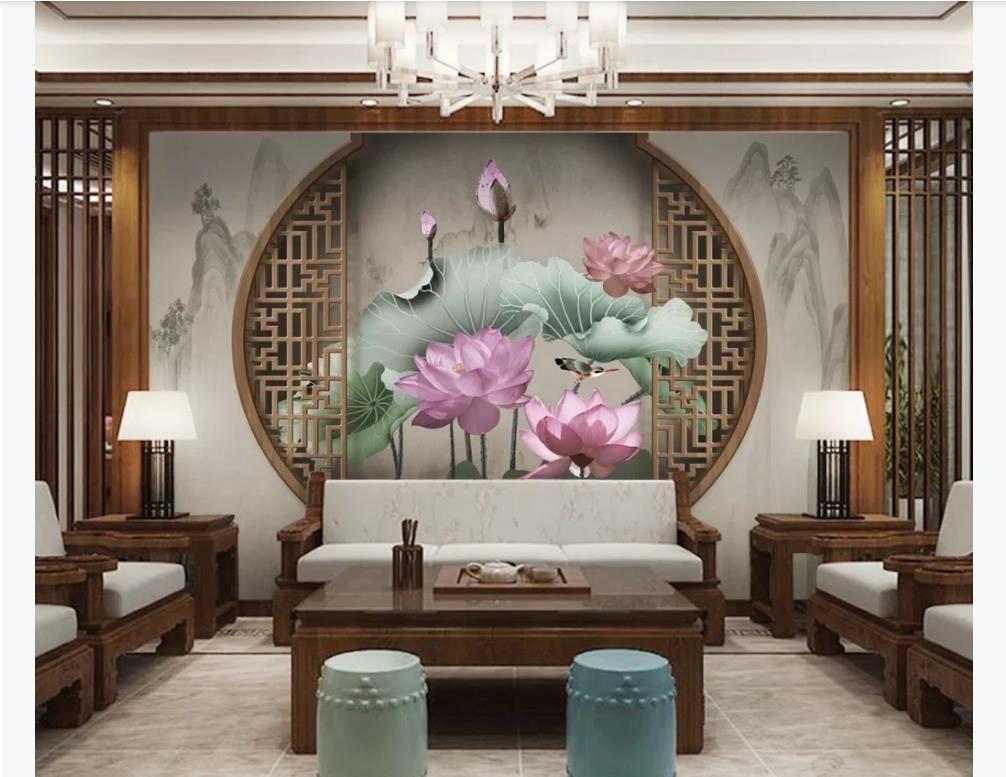 사용자 정의 3D 사진 벽 벽화 벽 종이 중국어 현대 창 로터스 꽃과 새 TV 배경 벽 그림 장식