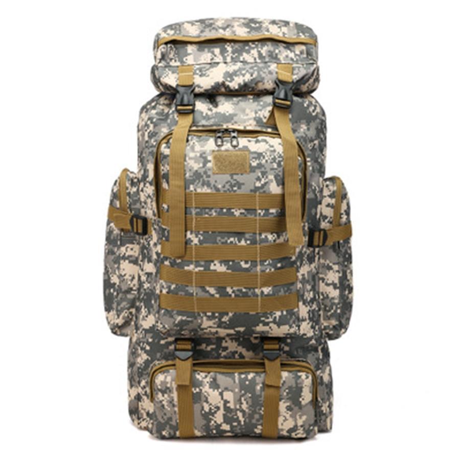 Camuflaje 3D 80L militar de gran capacidad de nylon al aire libre de múltiples funciones Bolsas táctico morral que acampa de deportes de senderismo bolsa de hombro 8 M8Hf # 457