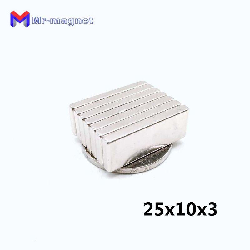 2019 imanes Imanes De Nevera 25pcs 25x10x3Mm Super Strong Rare Earth Permanet Magnet Powerful Block Neodymium Magnets 25*10*3 25x10x3