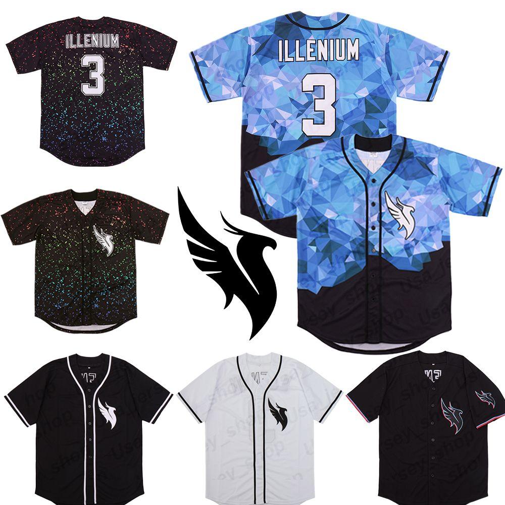 Personalizado Illenium Jersey Cantor 3 # Masculina versão Branco preto costurado Moda envio Edição Diamante Baseball Jerseys gratuito