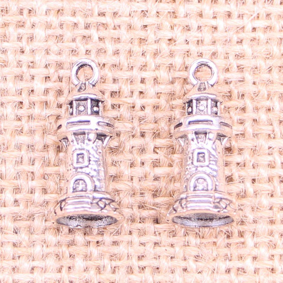 105pcs Antique silver Charms castle lighthouse Pendant Fit Bracelets Necklace DIY Metal Jewelry Making 20*9mm