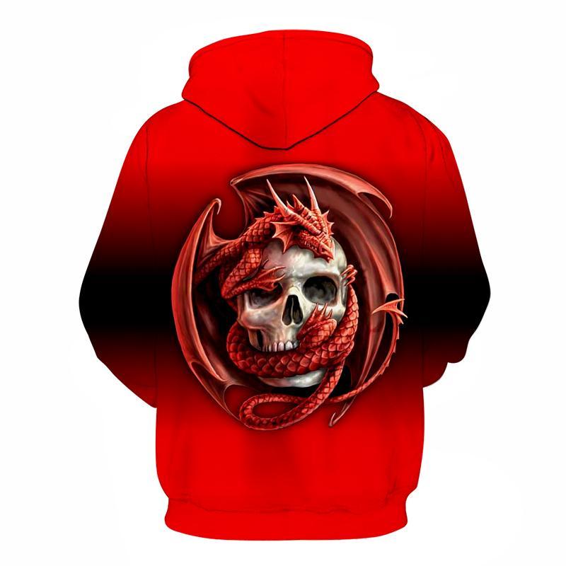 Mode-Crâne rouge Prints Sweats à capuche Homme Sweat à capuche 3D Homme Femme Survêtement drôle Marque Pull à capuche automne Streetwear Drop Ship
