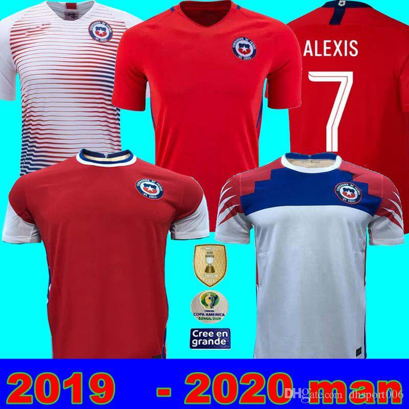2019 2020 칠레 Copa 미국 축구 유니폼 Alexis Vidal Valdivia Medel Pinilla Vargas 19 20 홈 멀리 축구 셔츠