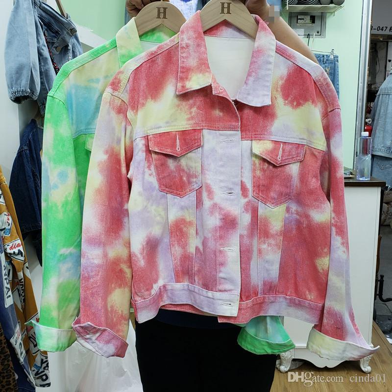 Womens revestimentos coloridos Smudge Gradiente Impressão Mulheres Casual Moda feminina curta soltas Denim longas Jaquetas luva
