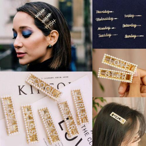 Set Of Girl Pearl Hair Clip Gold Hairpin Slide Grips Barrette Hair Accessories h