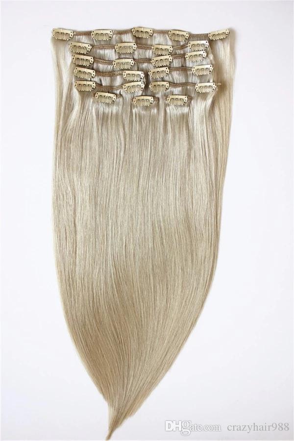 인간의 머리카락 확장 클립 7pcs / 세트 70grams / 머리 확장에 전체 머리 클립을 설정