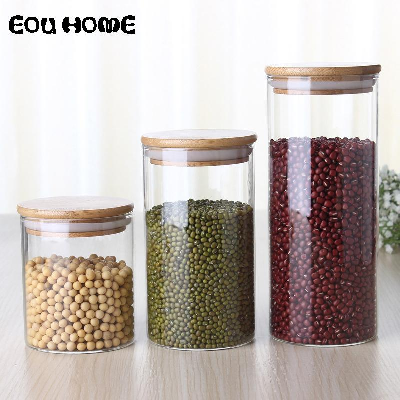 450/650/950ml Multipurpose Bamboo Lid Glass Airtight Canister Storage Bottles Jars Grains Leaf Coffee Beans Candy Jar