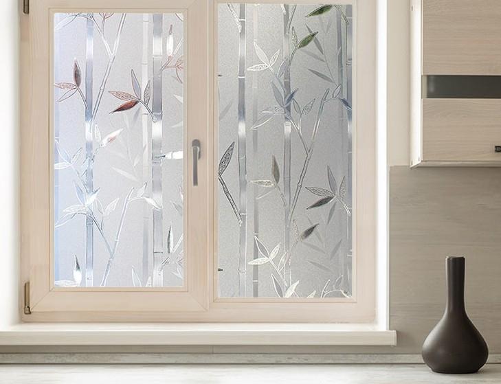 3D Bamboo Static Glass Window Film Self-adhesive office window Privacy Sticker width 30cm60cm70cm