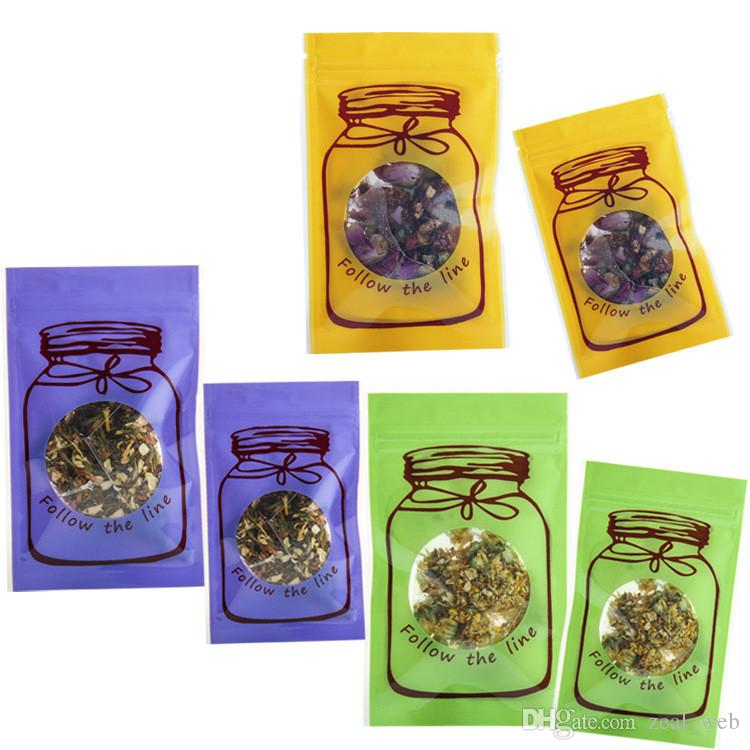 100pcs Farbe weckglas Geruch Beweis Tasche Mylar Zipverschlusssiegeltasche Aluminium Foil-Beutel Lebensmittel-Speicher-Beutel-Beutel