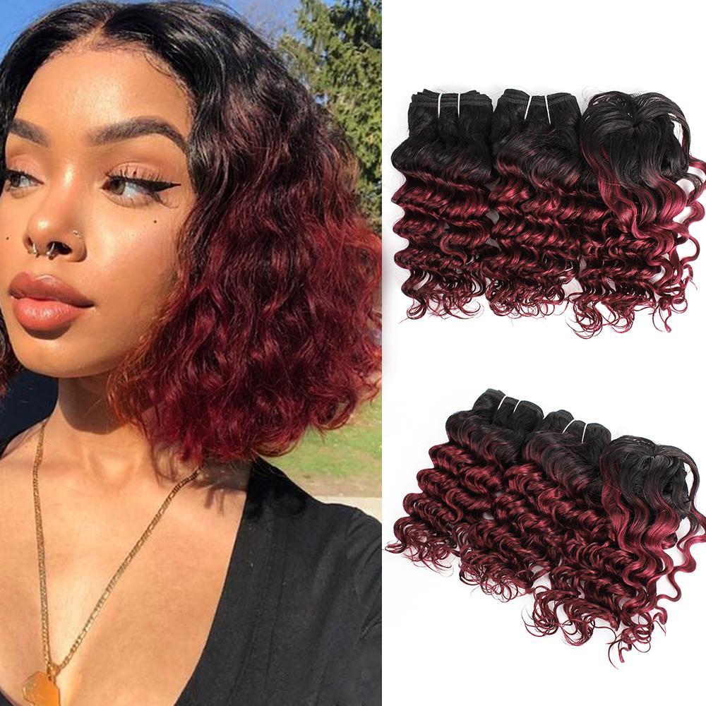 Brasilianische tiefe lockige Haarwebart bündelt preiswertes menschliches Haar bündelt Ombre Burgund 3pcs / Set für vollen Kopf 8-10 Zoll Remy Haarverlängerungen