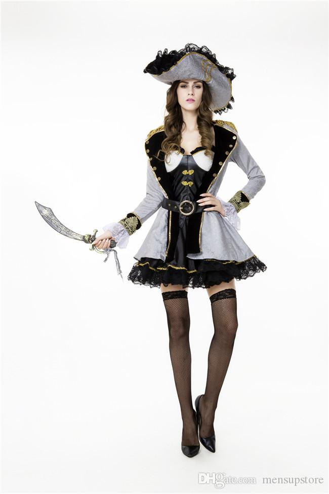 Cosplay Women Pirate Costume Theme Designer Queen Stage Halloween Dress Clothes