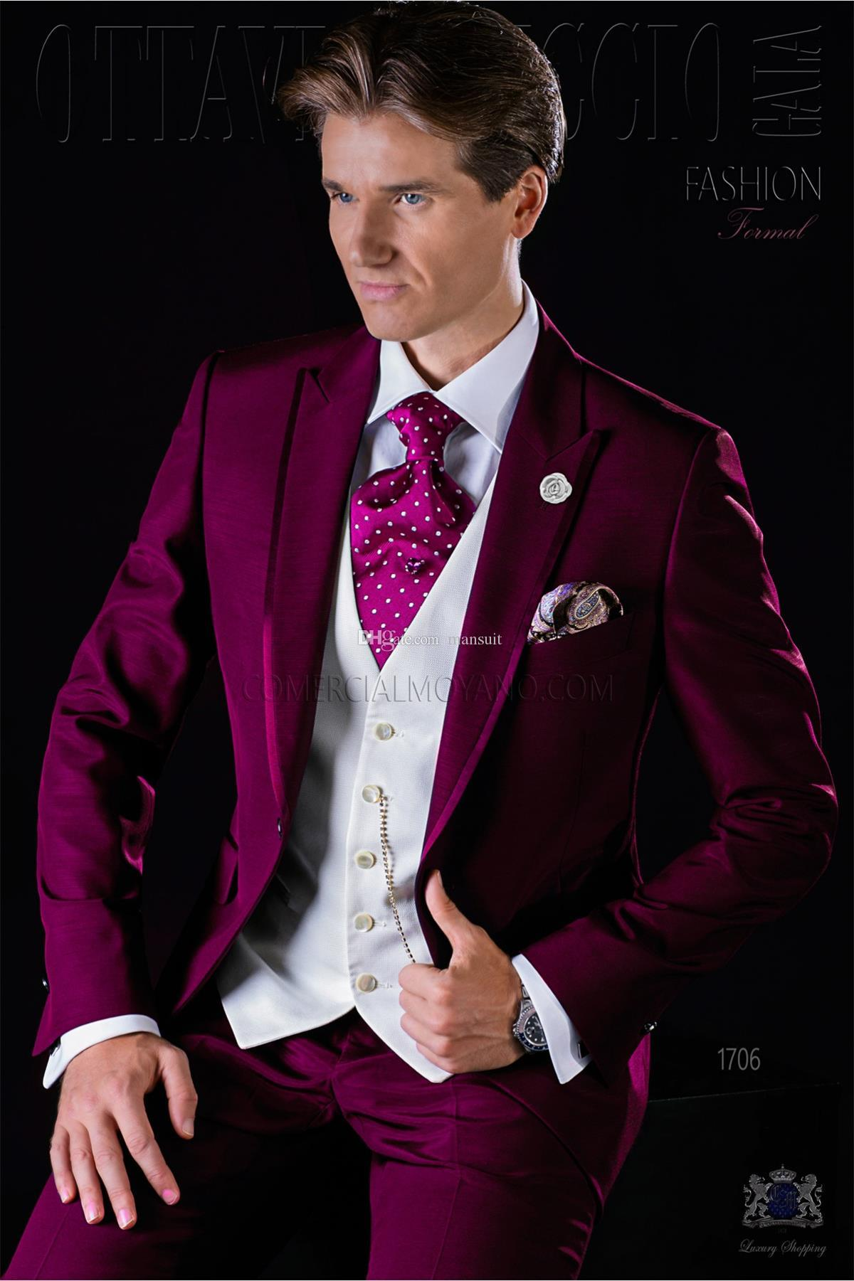 Nach Maß Groomsmen Peak Revers Bräutigam Smoking Rose Red Herren Anzüge Hochzeit / Prom Trauzeuge Blazer (Jacke + Hose + Weste + Krawatte) M887