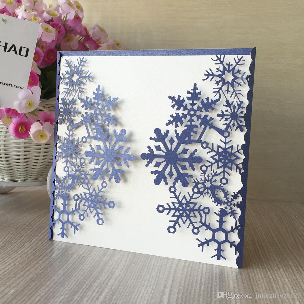 Голубые ледяные снежные ворота Выдалбливают лазерную резку жемчужной бумаги приглашение на свадьбу День рождения украшение ужина Chirstmas карман карты