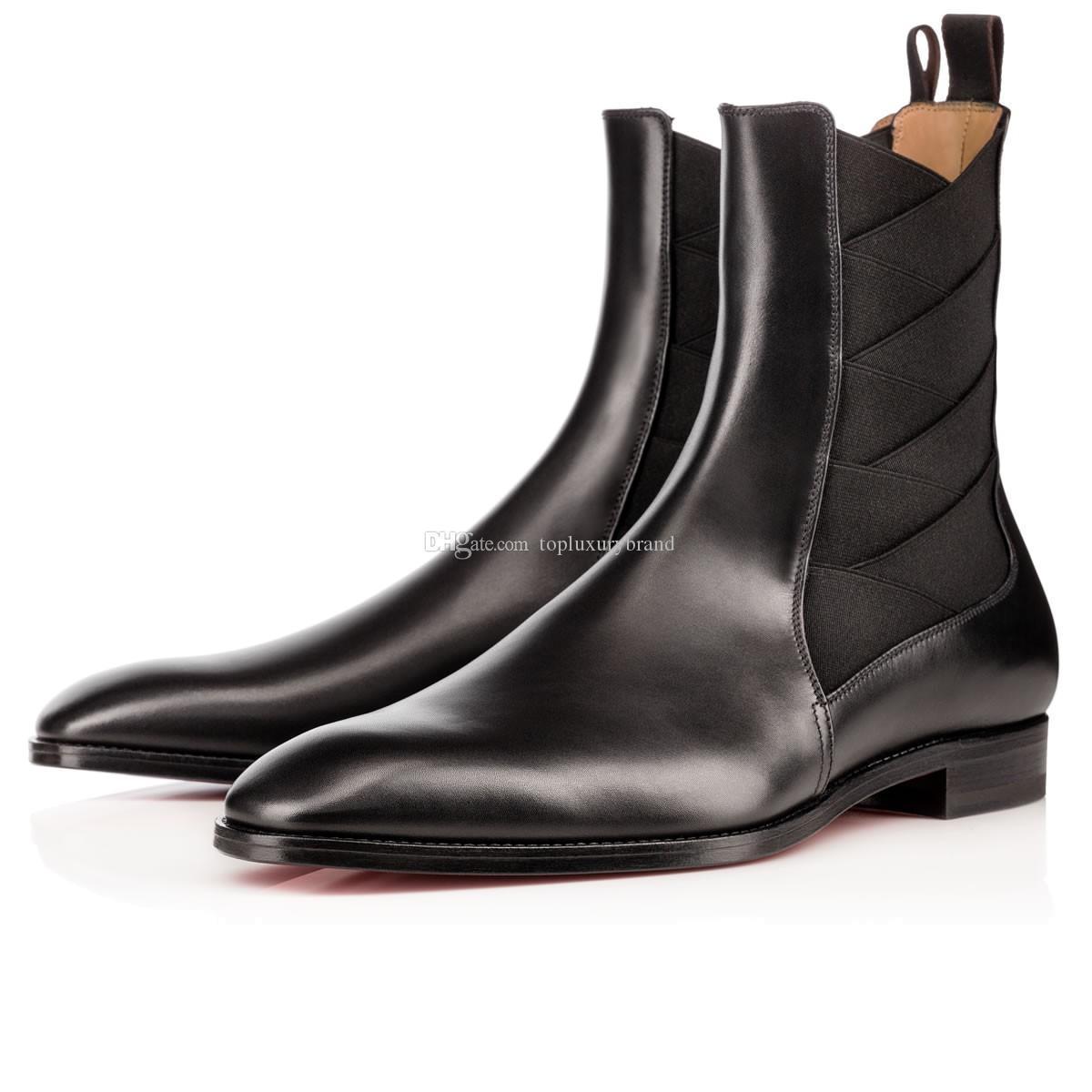 Couro Super Marca de Qualidade Red inferior Bota brians Cavaleiro botas dos homens Designers + Elastic Flats sapatos de couro cavalheiro casamento Parte