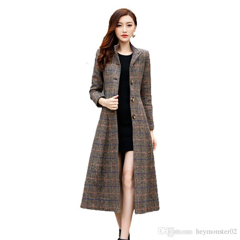 2020 Winter 2019 Woolen Coat Women Trench Classic Long Wool Coats Womens Overcoat Plaid Womans Coats Korean Fashion Clothing X998 From Heymonster02 49 32 Dhgate Com