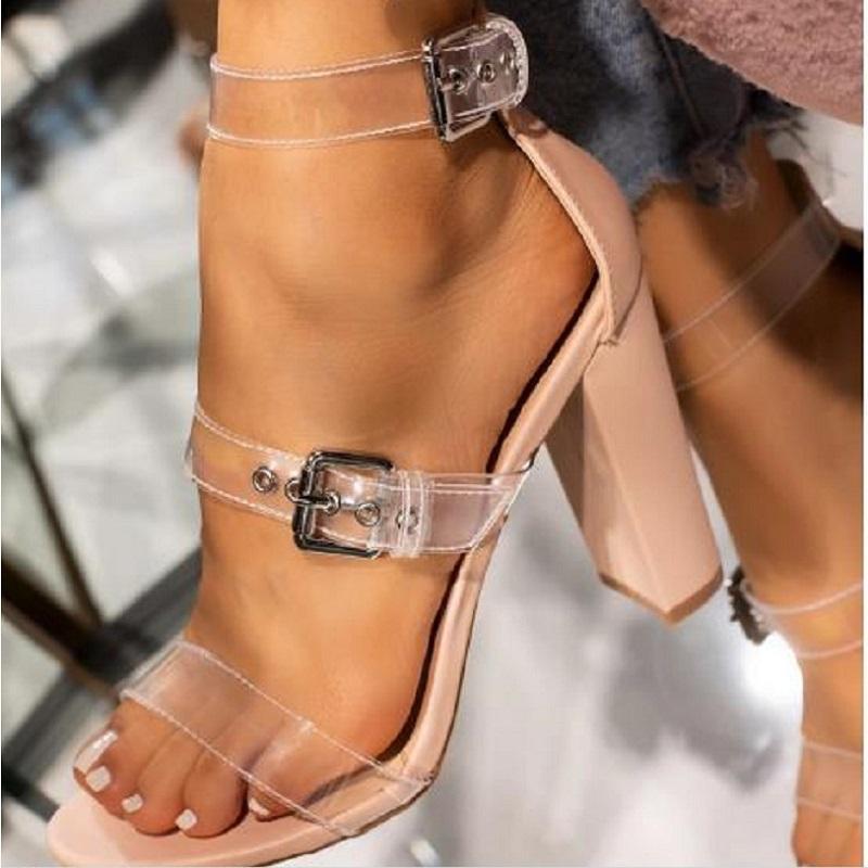 Mulheres sandálias transparentes gladiador verão saltos altos bloco calçados femininos sexy clara da bracelete aberto toe romanos geléia sandálias