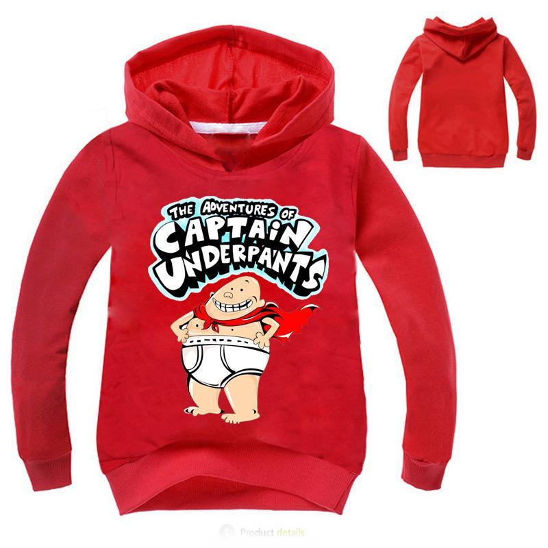 DLF 2-16 Captain Underpants Hoodies Shirt Kids Sweatshirt Baby Boy Shirt Children Sport Sweater for Kids Long Sleeve Tops Jumper