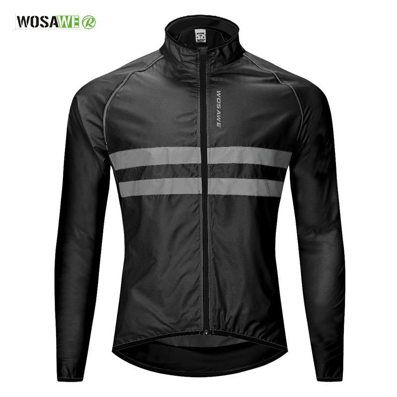 Ciclismo Giacca a vento ad alta visibilità della bicicletta Jersey strada MTB cappotto di pioggia riflettenti Cycle Abbigliamento antivento Giacca impermeabile Bike