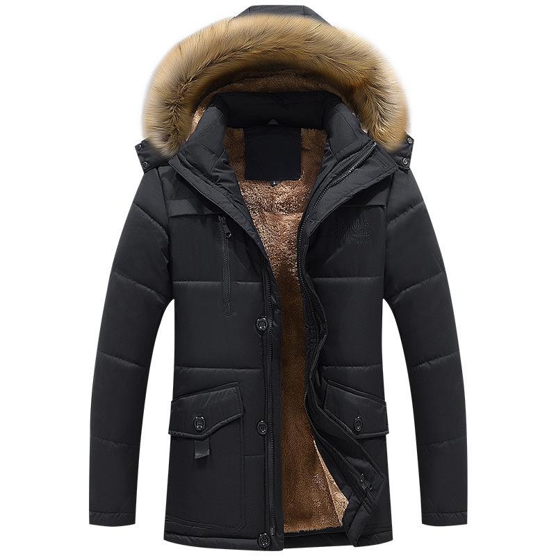 Classic Velvet Winter Casual Long Style Hooded Cotton Jackets Men Thick Hat Detachable Windproof Men Parka Zipper Pockets Coats