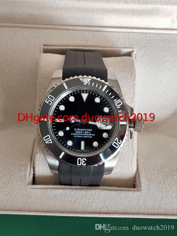 فاخر رياضة أسلوب GMT II 116710 الرجال الساعات الميكانيكية التلقائية المطاط حزام أسود الهاتفي الفولاذ المقاوم للصدأ السيراميك مدي 40MM عيد الميلاد