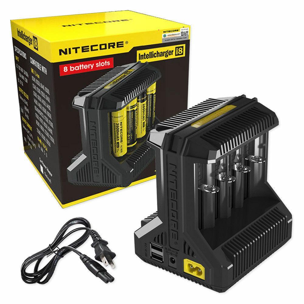 100٪ الأصلي Nitecore I8 8 سيج شاحن E فتحات Intellicharger يونيفرسال ل18650 26650 10440 14500 بطارية
