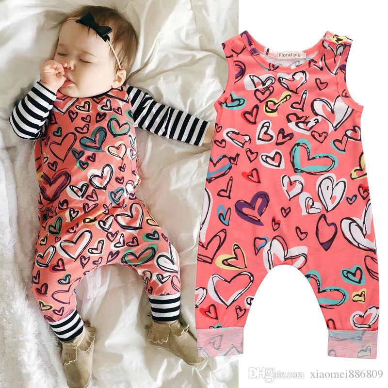 Toddler Kids Clothes Baby Girls Romper Infant Heart-Shaped Jumpsuit Sleeveless Sun suit Outfit Summer Newborn Clothes
