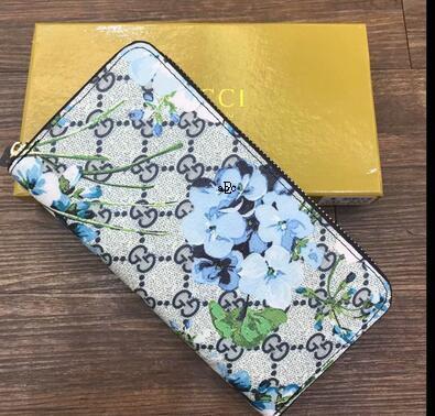 las mujeres de alta calidad del cuero genuino cartera de mano con cremallera clásica única carteras monedero largo con la caja de la bolsa de polvo de naranja BF8J