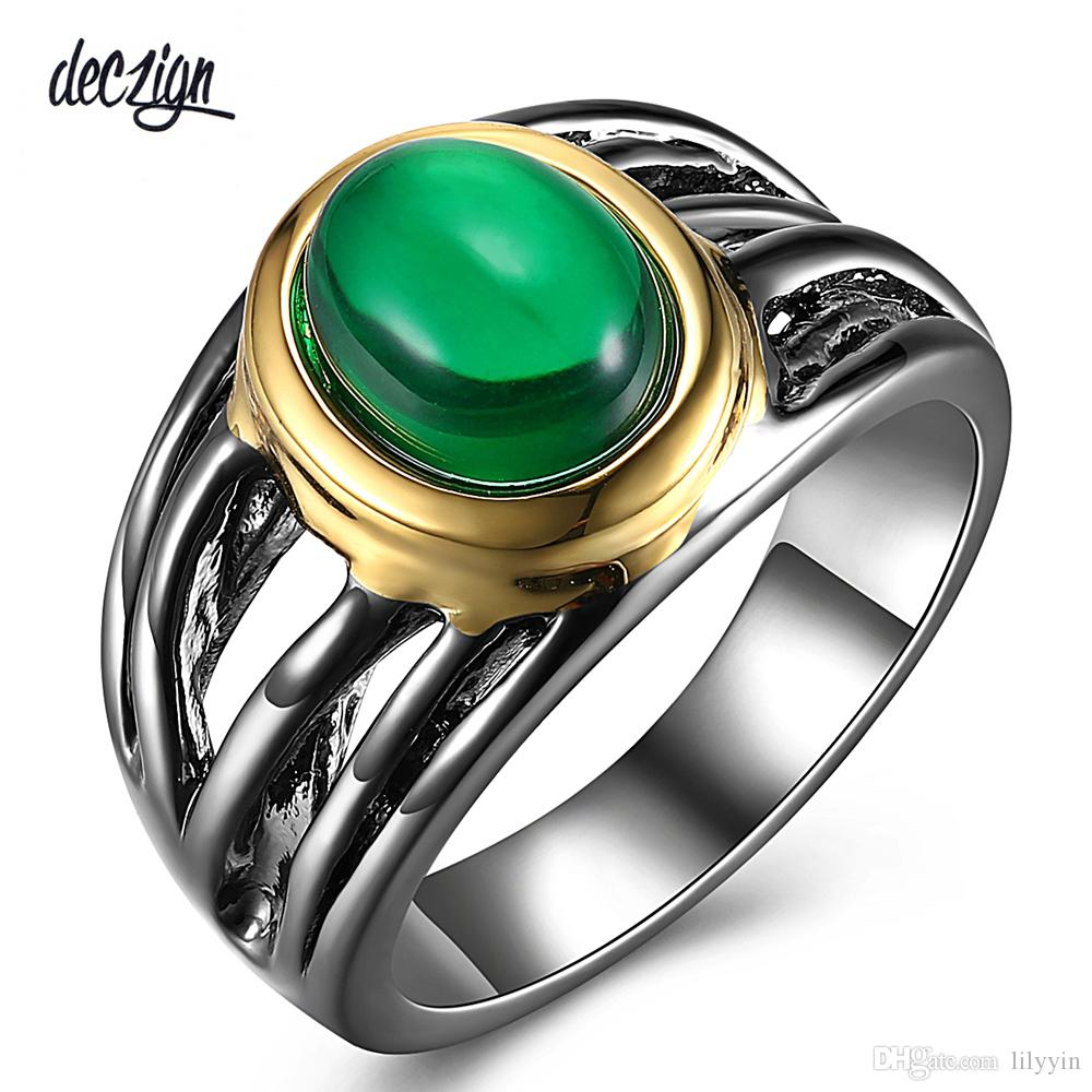 Deczign Must Have Jewelry Solitaire Ring for Women Oval Green Zirconia Gun and Gold Color Lead Free Metal WA11547