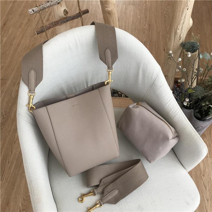 Simple sac à bandoulière femmes sac seau en cuir véritable casual large de l'épaule grande capacité sac en cuir de vache de femmes NTDX