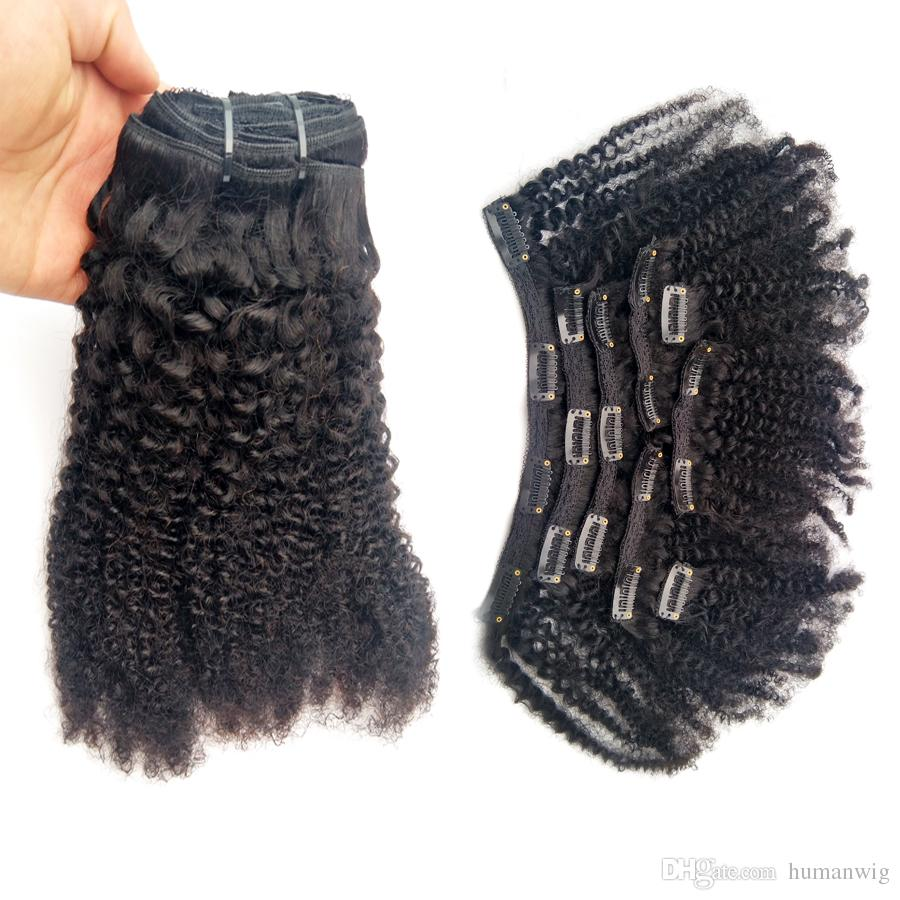 4B 4C Afro Kinky Curly Clip in Human Hair Extensions Natural Black Full Head Brazilian Remy Hair Clip ins Free Shipping