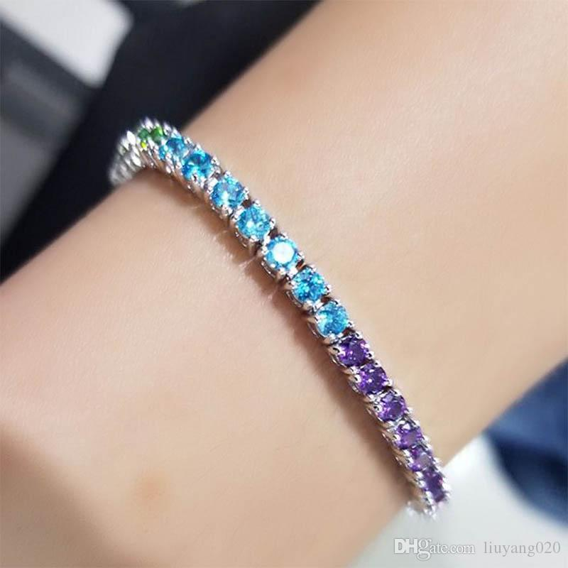 3,5-mm-Mehrfarben Zirkonia Tennis Armbänder Iced Out Kette Kristall Hochzeit Armband für Frauen-Silber-Armband Schmuck