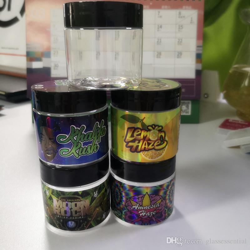 Neuer Hologramm-Aufkleber mit 3,5 Gramm 60 ml dünne Minze-Kekse Plastikglas-Tank-Trockenkräuter-Blumenbehälter mit Aufklebern