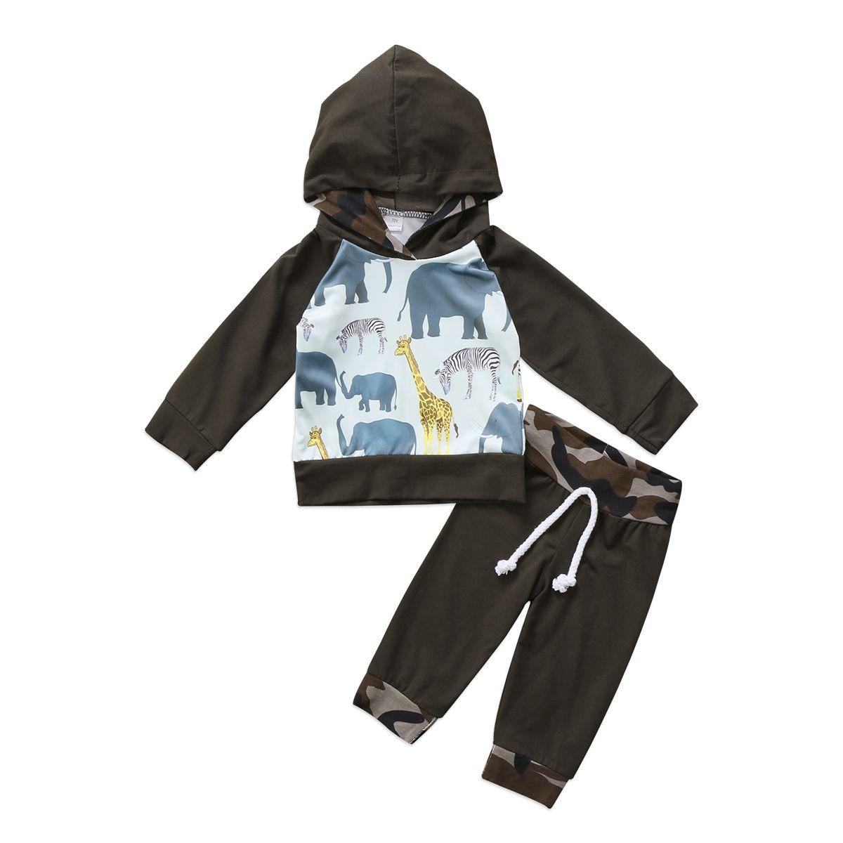 Animales de la historieta del niño del bebé niño ropa de los muchachos con capucha de manga larga camiseta de las tapas pantalones de camuflaje Trajes 2pcs