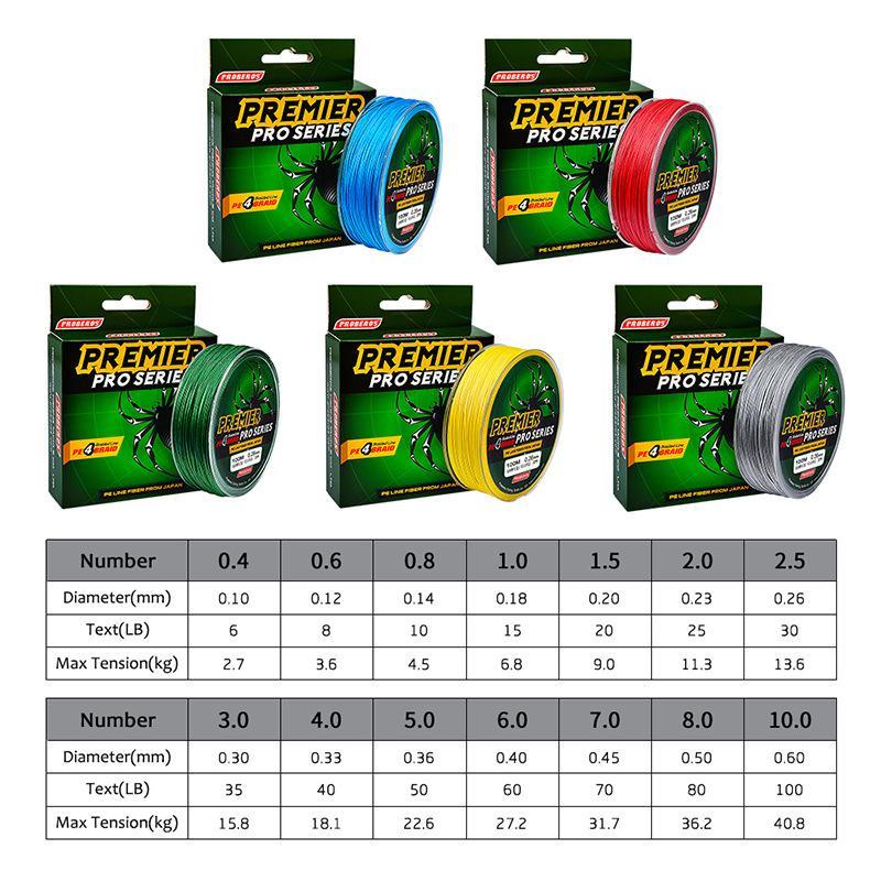100m 1백9야드 4 가닥 꼰 낚시 라인 PE 스펙트럼 라인 빨강 녹색 파랑 노랑 회색 5COLORS 10 파운드 ~ 100 파운드