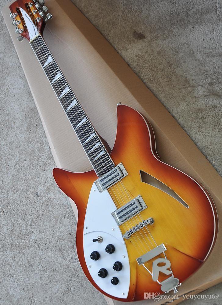 12-string halb-hohl linke elektrische Gitarre mit weißen pickup, R zurück liefert Mahagoni Griff individuellen Service