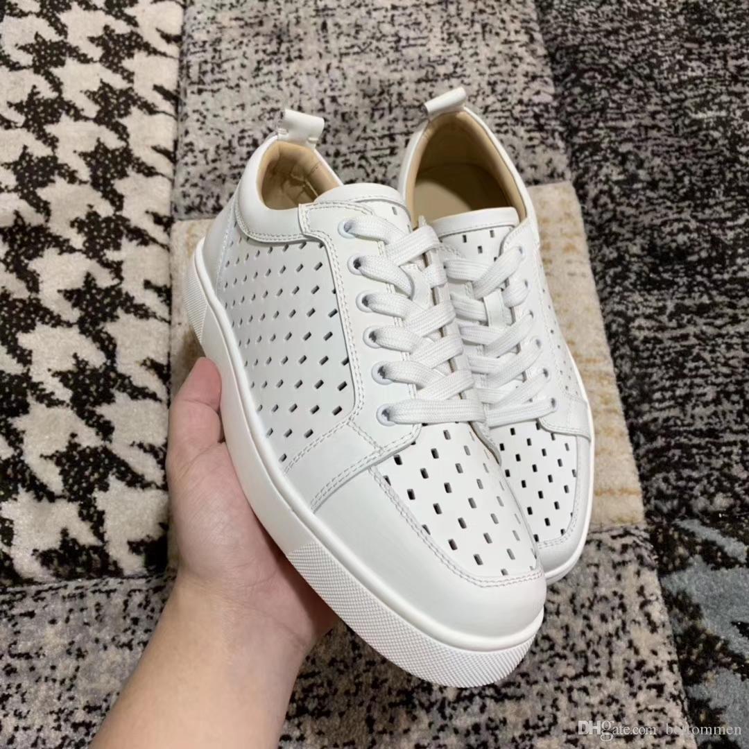 Новые элегантные юниорские белые дышащие кроссовки из натуральной кожи с красным дном женские, мужские Роскошные дизайнерские брендовые повседневные туфли с коробкой, мешком для пыли