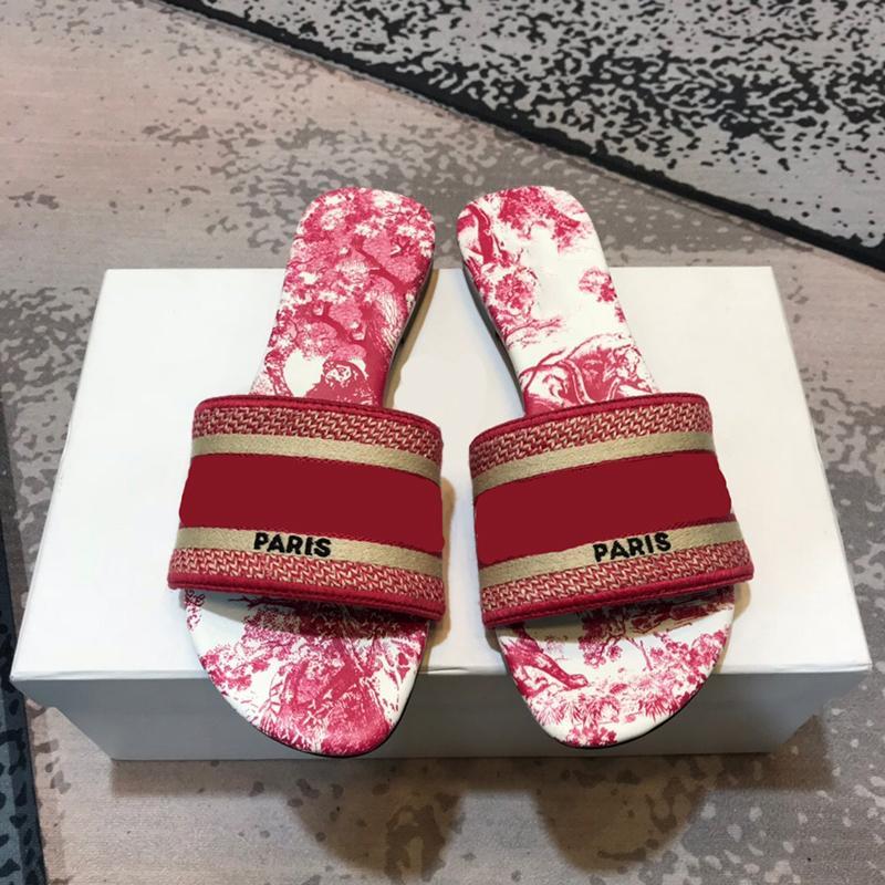 Les femmes concepteur pantoufles mode impression bout ouvert sandales de plage d'été talon plat bascules 8 couleurs taille 35-42
