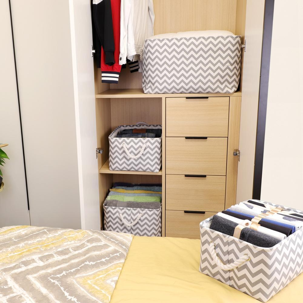 Laundry Cube Canvas Storage Box Fabric Storage Basket for Clothes Folding Nursery Underwear Toy Organizer T200602