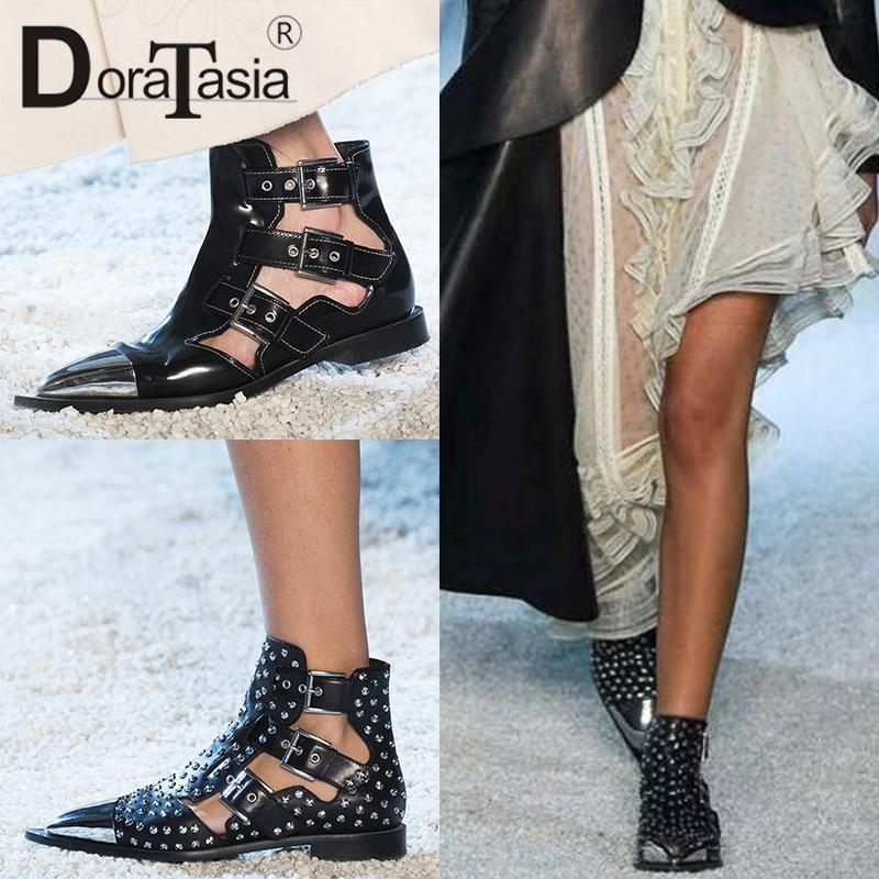 DORATASIA 2019 новый летний дизайн вся натуральная кожа Гладиатор сандалии женщины большой размер 34-43 Женская обувь женщина
