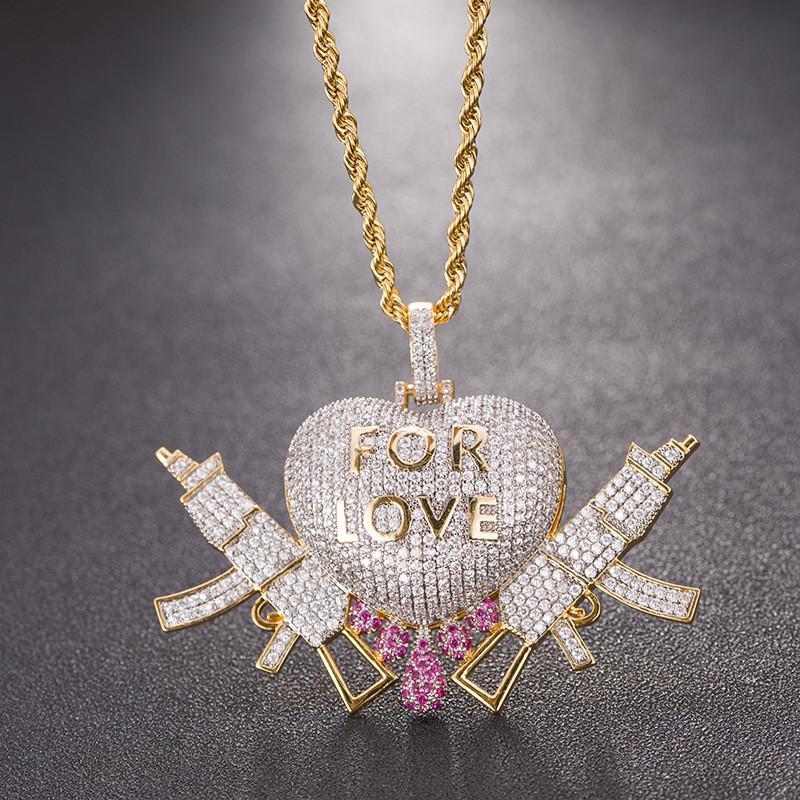 Herz-Drip mit Gewehr Liebe Halsketten-Anhänger gefror heraus Zircon Gold Silber Farbe mit Tennis-Kette Seil-Kette Schmuck für Männer Geschenke