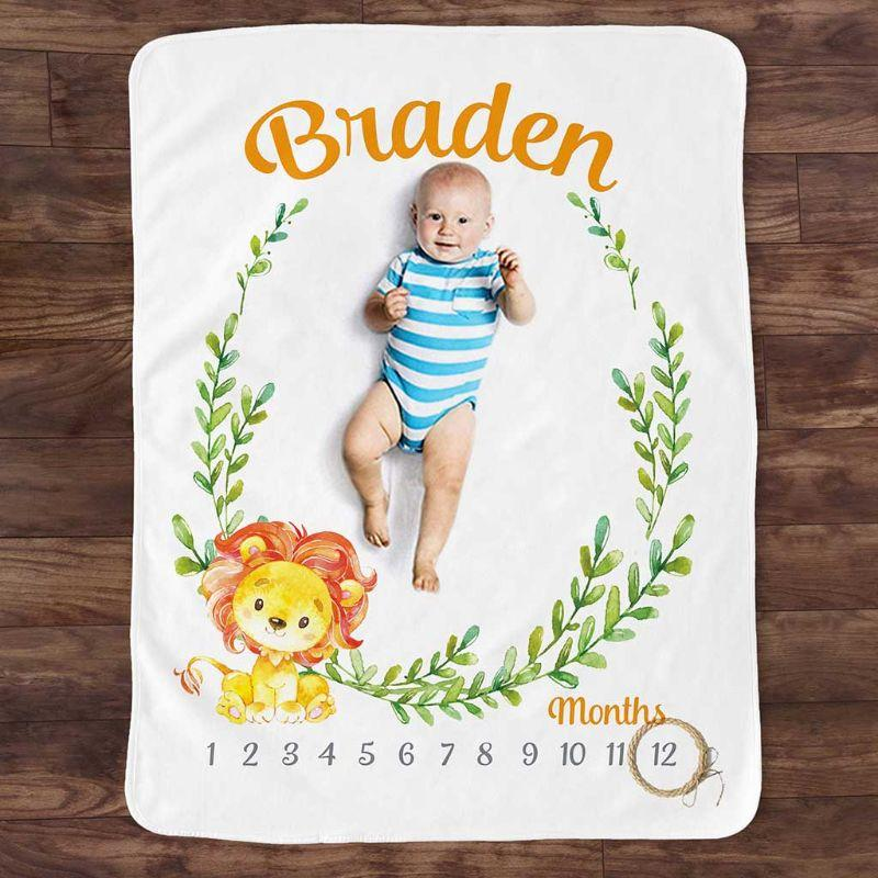 طفل سجل شهري النمو المعلم بطانيات لطيف الحيوان نمط التصوير الدعائم الصورة الإبداعية خلفية القماش الرضع هدايا