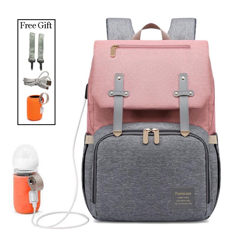Nouveau sac à main sac à main sac bébé poussette sac sac à dos USB imperméable oxford sacs maman maternité soins infirmiers Nappy Couche femme Pjaea