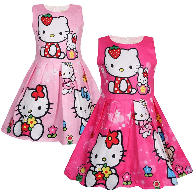 Fashion Girl Dress Summer Bonjour Kitty robe fille robe de soirée anniversaire Costume cadeau 3-8 Ans Vêtements pour enfants LY191227
