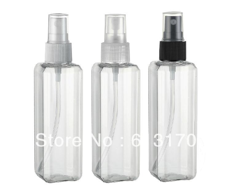 100ml plastik Boş sprey şişesi Şeffaf berrak Kare pet seyahat doldurulabilir parfüm şişeleri toptan / perakende ücretsiz gönderim