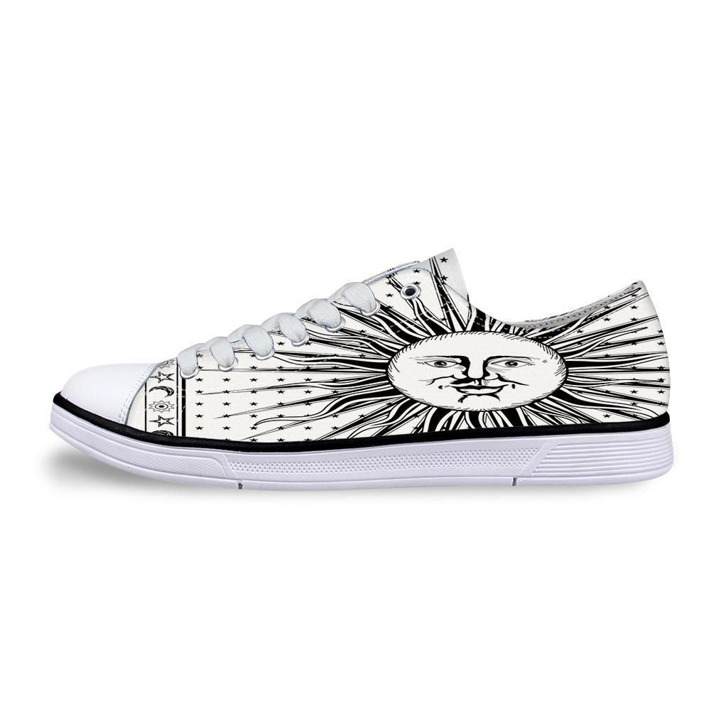 Genç Erkekler Studnets Düşük En Sneakers Erkek Klasik Flats Tuval Ayakkabı için Hint Mandala Güneş Gök Vücut Unisex Kanvas Ayakkabı