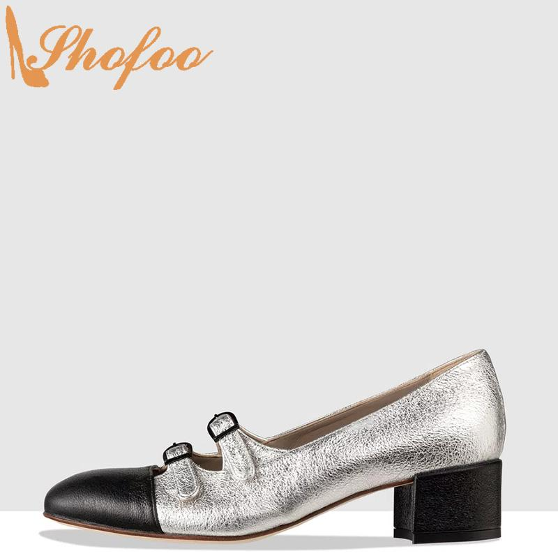 Black Silver Patchwork Women Mary Janes